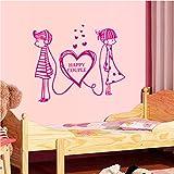 Stickers Muraux Rose Petit Couple Mariage Chambre Chambre Salon Porche Armoire Fond Décoration Autocollant 60 * 78 Cm
