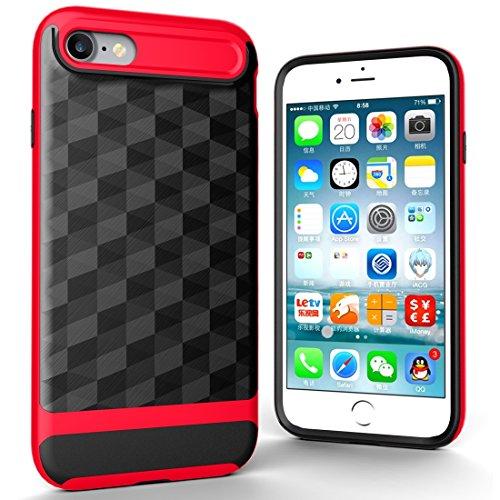 Wkae 3D Diamond PC + TPU Kombination Schutzhülle für iPhone 7 iPhone 8 ( Color : Black ) Red