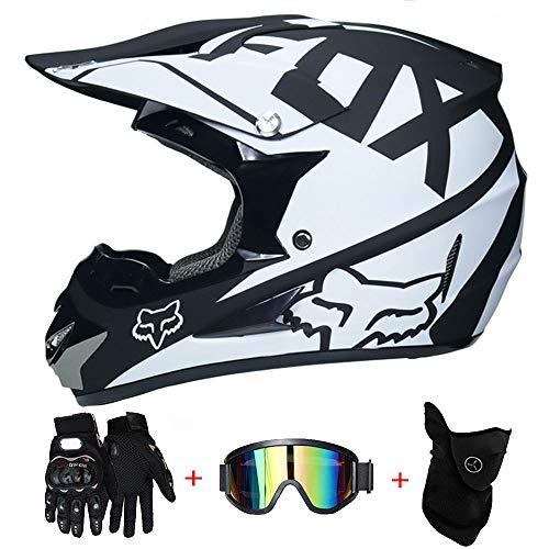 LTongx Erwachsener Motocross Helm MX Motorradhelm ATV Scooter ATV Helm D.O.T Zertifiziert Multicolor mit Brille Handschuhe Maske (S, M, L, (Fox Kopf Maske)