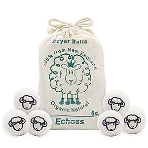 Echoss Bolas Lana secadora Pura Lana de Oveja Orgánico Natural de Nueva Zelanda Bolas de Secado Reutilizables para…