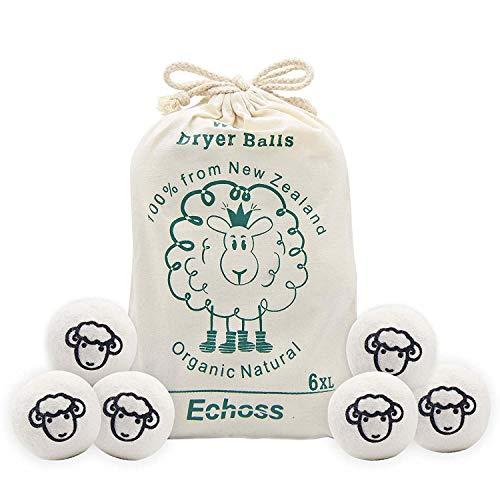 Echoss Bolas Lana secadora Pura Lana de Oveja Orgánico Natural de Nueva Zelanda Bolas de Secado Reutilizables...