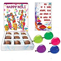 BOGATCHI Happy Holi Chocolate Gift Box for Friends and Family, 9 pcs + Free Greeting Card and Holi Gifts