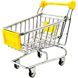 NF&E Kids Children Pretend Play Mini Shopping Entertainment Fun Cart Trolley Home Room Office Decor Toy Gift Yellow