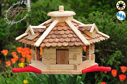 Garten-Vogelhaus-Blockhaus mit Landebahn braun Natur-braun,