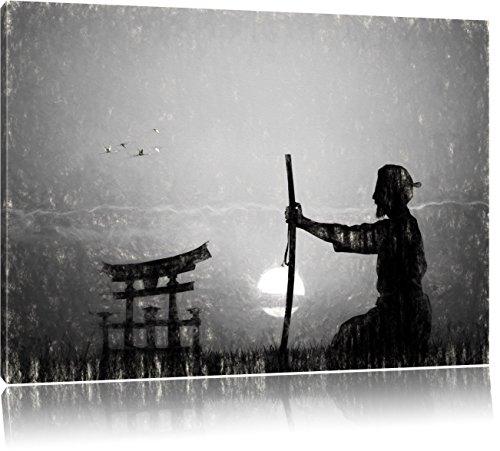 alter Samurai-Meister vor Horizont Kunst Kohle Effekt, Format: 120x80 auf Leinwand, XXL riesige Bilder fertig gerahmt mit Keilrahmen, Kunstdruck auf Wandbild mit Rahmen, günstiger als Gemälde oder Ölbild, kein Poster oder Plakat -