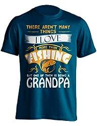 """Abuelo Pesca Camiseta """"No hay muchas cosas I Love más de uno de ellos, pero es ser un Grandpa"""" Pesca De Pesca Camiseta–idea de regalo para Grand Dad en su cumpleaños, Regalo de Navidad o día del padre., azul marino"""