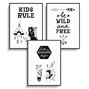 Design Tiere Lustig DIN A4 Prints 3er Set Skandinavisches Design 8 ohne Rahmen Schwarz Weiß Wanddeko Kinderzimmer Jugendzimmer Kind Mädchen Junge