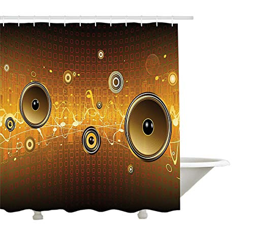 Musik Duschvorhang, Lautsprecher Urban Party Scene Elektronisches Instrument DJ Disco Dancing Design, Stoff Badezimmer Dekor Set mit Haken, Brown Ginger Yellow (Lautsprecher Duschvorhang)