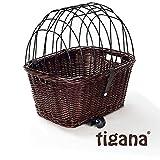 Tigana - Hundefahrradkorb für Gepäckträger aus Weide 44 x 34 cm mit Metallgitter und Kissen Eckig Tierkorb in Braun (B-S)