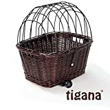 Tigana - Hundefahrradkorb für Gepäckträger aus Weide 44 x 34