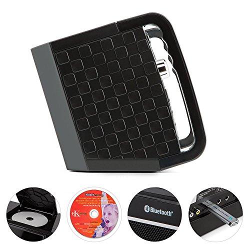 auna DiscoFever • Karaoke Anlage • Karaokeplayer • Karaoke Set • Bluetooth • 7 Zoll TFT-Display • 1 x dynamisches Mikrofon • LED-Effekte • CD+G-Player • USB-Port • Echo-Effekt • A.V.C. Funktion • Video-Ausgang • AUX-Eingang • Aufnahmefunktion • schwarz - 4