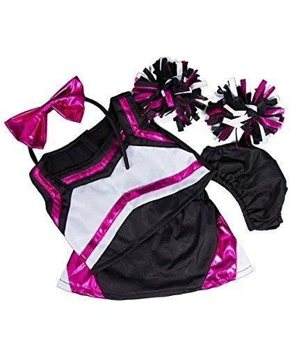 A Build Bear Kostüm - Metallisch Heiß rosa & schwarz cheerleader kostüm outfit / teddy kleidung passend für 15