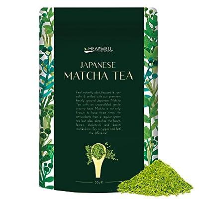 Thé vert Matcha japonais 50g | Qualité supérieure | Parfait pour le thé, le smoothie, les desserts, les shakes, les gâteaux et les pâtisseries | Convient pour un végétalien | Plein d'antioxydants et meilleur pour le désintoxication | Par Heapwell Superfoo