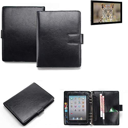 K-S-Trade Tablet-Case und Organizer Kombination für Blaupunkt Endeavour 101G mit Ringbucheinlage schwarz. Kunstleder Qualitätsware (1x)