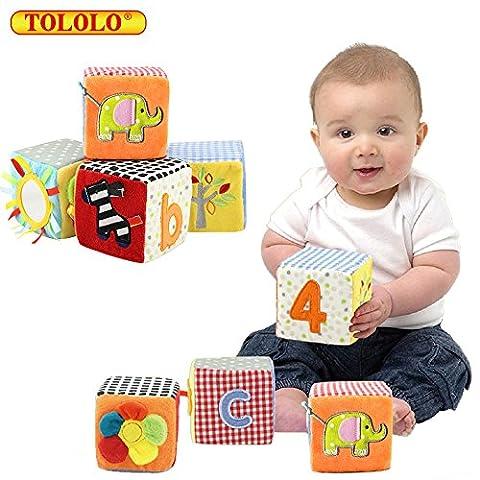 TOLOLO 4pcs Jouets éducatifs pour bébés pour bébés Hochets velours tissu Building Blocks jouet