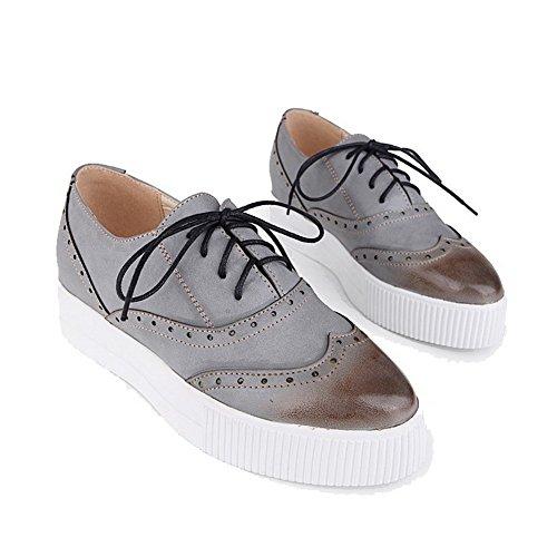 AgooLar Damen Niedriger Absatz Weiches Material Rein Schnüren Rund Zehe Pumps Schuhe Grau