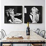 zszy Blanco y Negro Marilyn Monroe Arte de la Lona Carteles e Impresiones de Moda Cuadros de Pared Salón Salón-50x50cmx2 Piez
