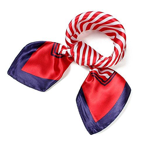 UK_Stone Damen Klassisch Rot Weiss Streifen Gross Bandana Schal (Damen Die 60 Flugbegleiterin Kostüm)