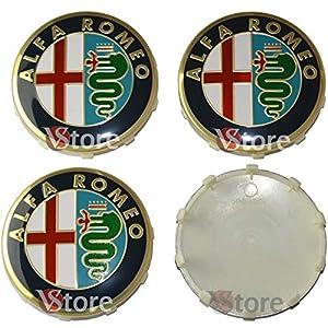 4 Stück Nabenkappen 60 mm passend für ALFA ROMEO Giulietta 147 159 146 156 Brera Stemma Hexe Gold Gold