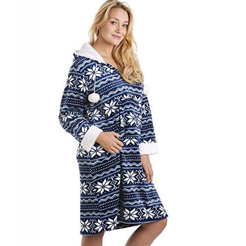 Camille Superweiches Hauskleid mit Kapuze - seidig glatt - Nordisches Muster Blau & Weiß 38/40 -