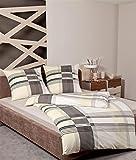 Janine Biber Bettwäsche 4 teilig Bettbezug 135 x 200 cm Kopfkissenbezug 80 x 80 cm Davos Karo Natur braun