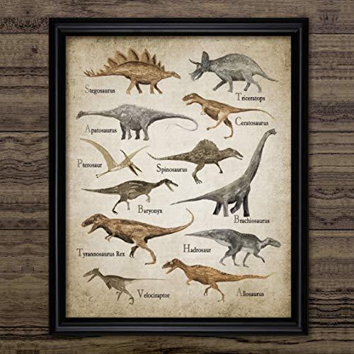 Danjiao Dinosaurio Acuarela Arte Lienzo Pintura Niños Niños Decoración Del Dormitorio Especies De Dinosaurios T Rex Triceratops Impresiones De Carteles Decoración De La Pared Sala De Estar De 60x90cm