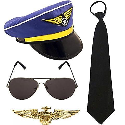 German Trendseller® déguisement set pilot ┃accessoires de carnaval┃ casquette de pilote+lunette de soleil+cravate+insigne aviateur┃ 4 pcs┃