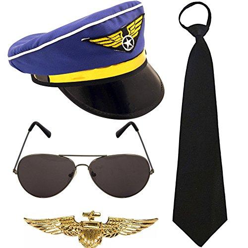 German Trendseller® ┃ Piloten Set Deluxe┃ - NEU -┃ Fasching ┃ Karneval ┃ Piloten Mütze - Brille - Krawatte - Abzeichen Gold (Jack The Ripper Kostüm Zubehör)