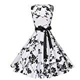 VEMOW Elegante Damen Vintage Bodycon Sleeveless Halter beiläufige Tägliche Abend Party Prom Bow Brautjungfern Swing Dress Faltenrock A-Linie Rock(Weiß, EU-46/CN-2XL)