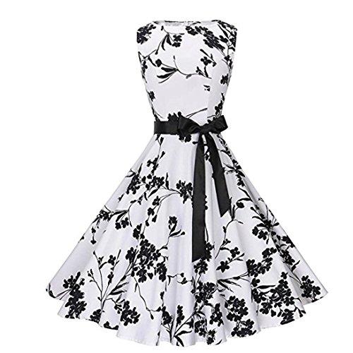 VEMOW Elegante Damen Vintage Bodycon Sleeveless Halter beiläufige Tägliche Abend Party Prom Bow Brautjungfern Swing Dress Faltenrock A-Linie Rock(Weiß, EU-38/CN-S) (Kleid Bow Satin)