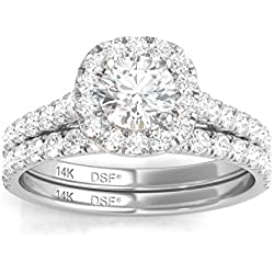 Diamond Studs Forever - Set alianzas de boda estilo halo de diamantes - GH/I1 - Oro blanco de 14K