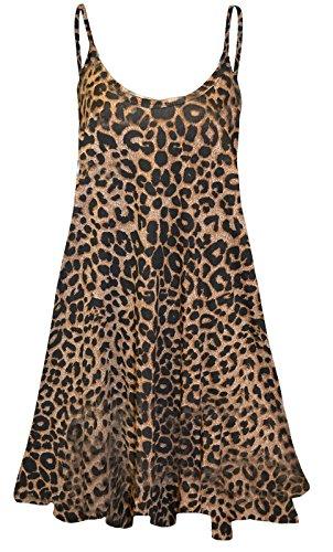 DAMEN LANG CAMI SWING KLEID LEIBCHEN MIT SPAGHETTI-TRÄGERN TOTENKOPF & ROSE TOTENKOPF ROSEN AZTEK SCHOTTENKARO COMIC 22 24 26 ÜBERGRÖßE ÄRMELLOSES TOP - Leopardenmuster, 40 (Cami Rose)