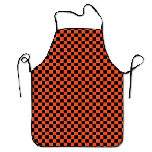 LarissaHi Womens schwarz orange Halloween Grid Backen Polyester Schürze zum Backen Basteln Gartenarbeit Kochen langlebig einfache Reinigung kreative Lätzchen für Mann und Frau Standardgröße (Perücke Ziel-lady)
