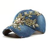 GLLH qin-hat Frauen Frühling und Sommer Outdoor-Sonnenhut, Handgemachte Goldseide Blume Punktbohrer Baseballmütze, Mütze, Cowboyhut, A Mützes/Hut/Cap