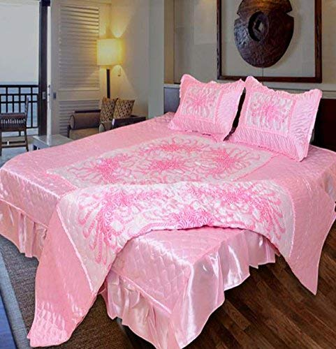 Namaste India Satin Double Bed Bedding Wedding Set (Set of 4 pcs) 1 Double Bed Bedsheet:: 2 Pillow Cover:: 1 Double Bed AC Comforter