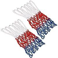TOOHUI Set de 2 Red de Canasta, Red Tricolor Blanco/Azul/Rojo, Red de Baloncesto de 12 Bucle, Malla Estándard para Canasta de Baloncesto, Robusto para Uso Interior y Exterior