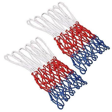TOOHUI Set de 2 Red de Canasta Red Tricolor Blanco Azul Rojo Red de Baloncesto de 12 Bucle Malla Est ndard para Canasta de B