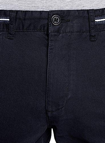 oodji Ultra Herren Chinohose mit Dekoriertem Bund Blau (7900N)