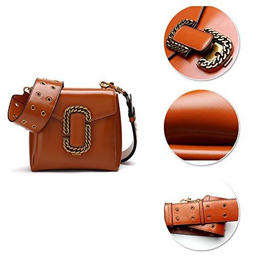 Borse a tracolla Yoome per donna in vera pelle di vacchetta Designer borsa in pelle con tracolla larga - nero Rosso