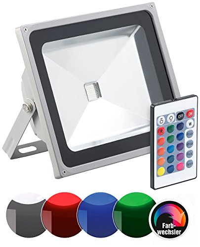 Luminea RGB Strahler: Wetterfester RGB-Fluter mit SMD-LEDs, Fernbedienung, 4.000 lm, 50 Watt (LED Strahler blau)