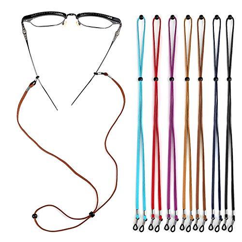Crazy-M 8Stück Brillenkette PU Leder Brille Seil Brille Kordel Halte Multicolor geflochtenes Seil Brillen Halter Kette Brillenband/Brillenkette/Brillen Cord/Sonnenbrille Kette Hals Lanyard