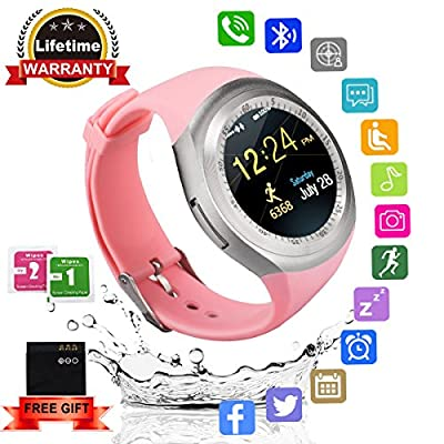 Smart Watch Bluetooth Smartwatch Round with TouchScreen SIM Card Slot, Waterproof Phones Smart Wrist Watch Sports Fitness Tracker Compatible with iPhone Android Samsung Huawei Sony for Kids Men Women from Kindak