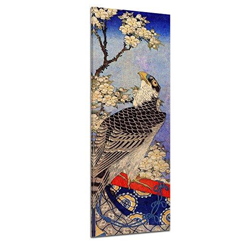 Wandbild Katsushika Hokusai Falke und Kirschblüten - 30x90cm hochkant - Alte Meister Berühmte Gemälde Leinwandbild Kunstdruck Bild auf Leinwand - Katsushika Hokusai