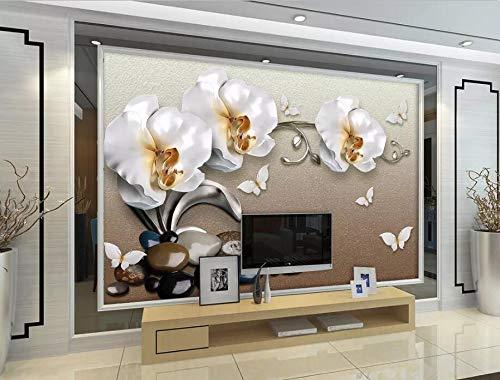 ZZXXJJ 3D Hintergrund Benutzerdefinierte Wand Wohnzimmer Schlafzimmer Luxus Goldschmuck Blume Schmuck Wand TV Hintergrund