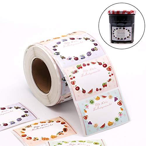 500 Etiketten Marmelade Selbstklebend Klebeetiketten für Marmelade auf Rolle 65 x 40 mm von Sinoest Einmachetiketten Haushaltsetiketten Tiefkühletiketten Aufkleber für Küche Marmeladen Geschenke