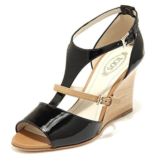 42755 sandali donna TOD'S zeppa scarpa scarpe sandalo donna shoes women Nero