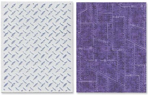 Sizzix Texture Fades Prägefolder 2Stück–Diamond Plate & genietet Metall Set by Tim Holtz (Prägefolder-set)