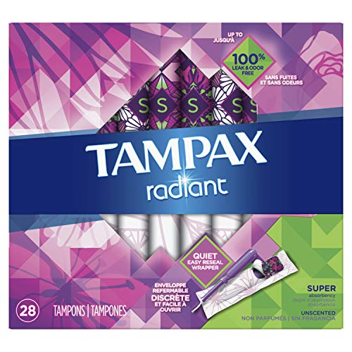Radiant plastic Super absorbency unscented tampons 32ct (Tampons mit Applikator) USA - Tampax Radiant Tampons