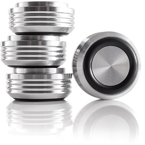 Hifi Lab Aluminium Füße massiv 30x14 Audio Absorber Geräte-Füße Alu silber 4x