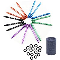 MUROAD Alumium Cañas de dardos -15 Piezas 53mm 2BA Rosca Cañas y 15 x O-Ring Dardos Anillo de goma , 1x Sacapuntas para dardos